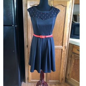 Eva Franco Mesh Top Black and Red Dress Size 6